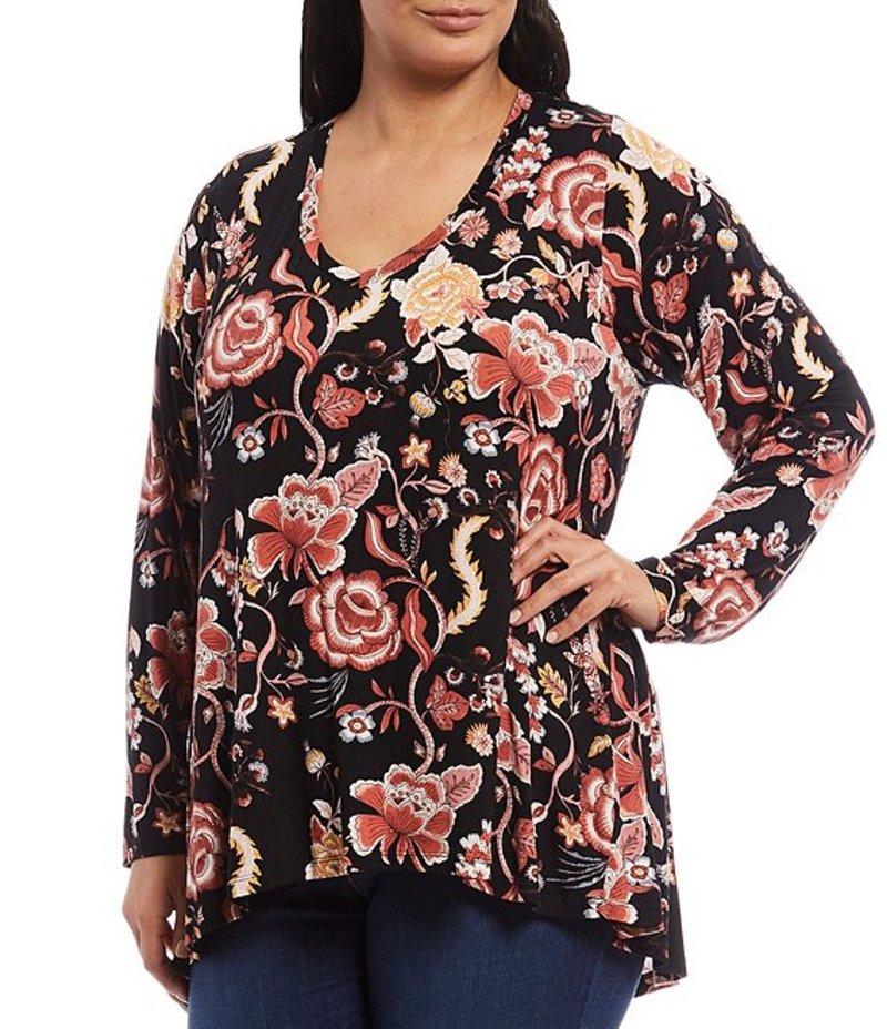 ボベー レディース カットソー トップス Plus Size Floral Paisley V-Neck Pleat Back Hi-Low Hem Top Black Floral Paisley