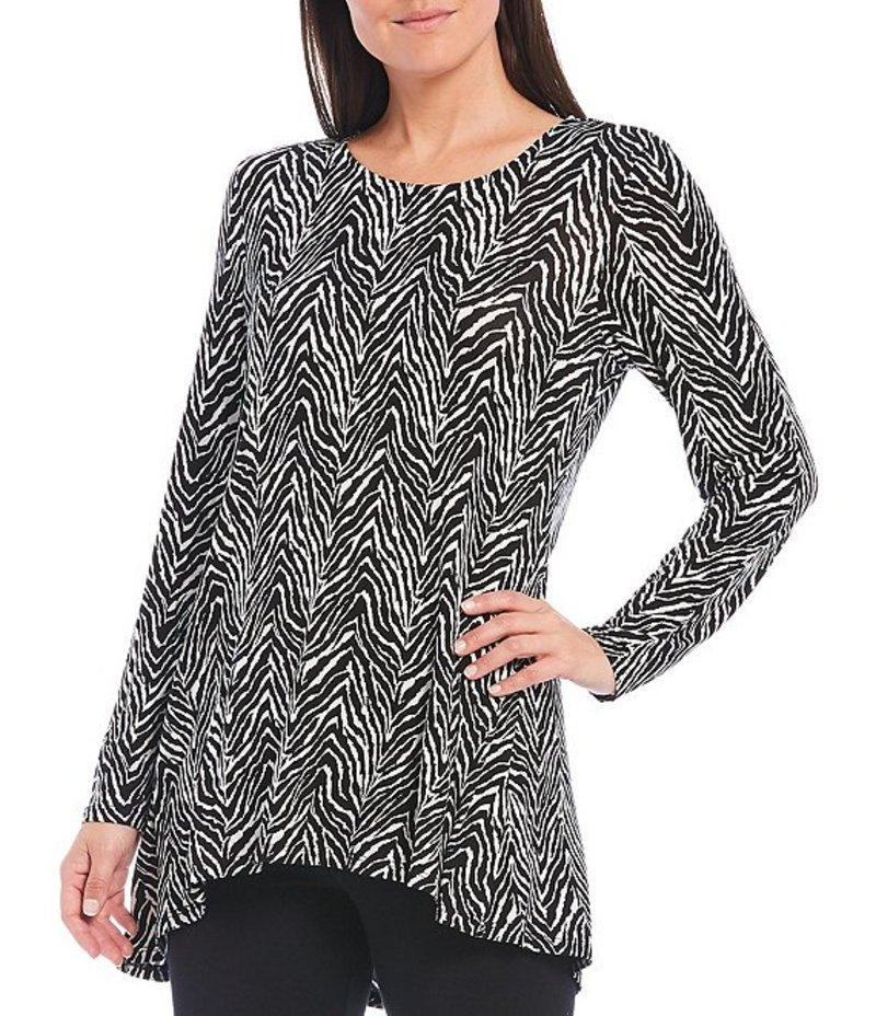 イントロ レディース カットソー トップス Petite Size Zebra Print Long Sleeve Pleat Back Detail Hi-Low Swing Top Ebony Black