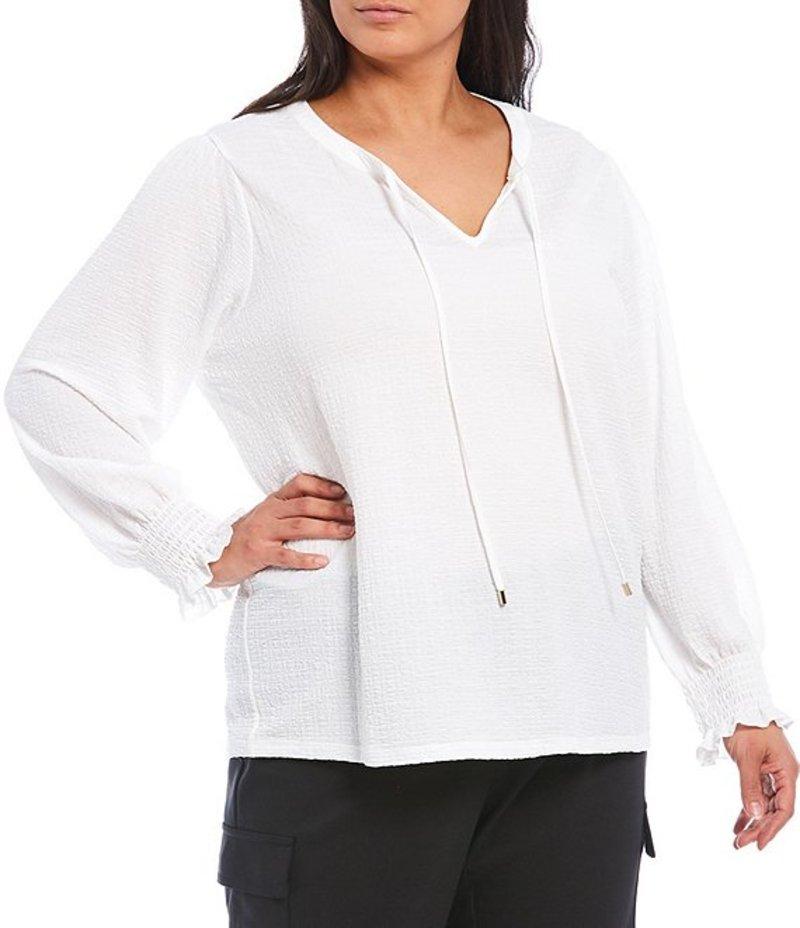 カルバンクライン レディース Tシャツ トップス Plus Size Texture Knit Tie Neck Smocked Sleeve Top Soft White