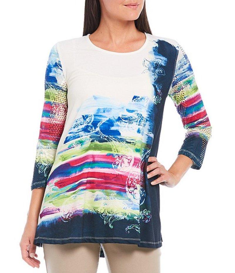 マルチプルズ レディース Tシャツ トップス Watercolor Print Slub Knit 3/4 Sleeve Novelty Mesh Swing Top Multi