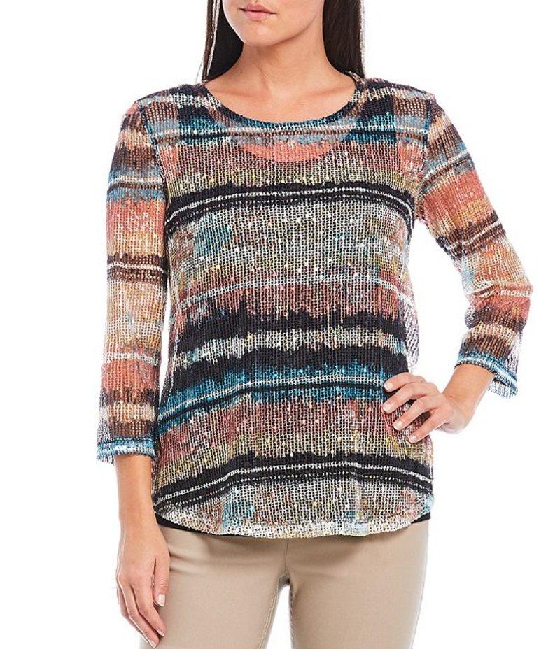 マルチプルズ レディース Tシャツ トップス Petite Size Tie Dye Stripe Sequin Mesh Knit 3/4 Sleeve Scoop Neck Top Multi