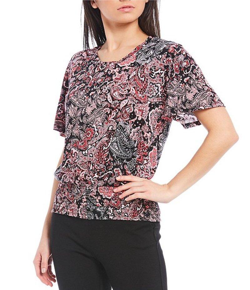 マイケルコース レディース Tシャツ トップス MICHAEL Michael Kors Arabesque Paisley Patchwork Print Knit Jersey Short Sleeve Smocked Hem Top Geranium
