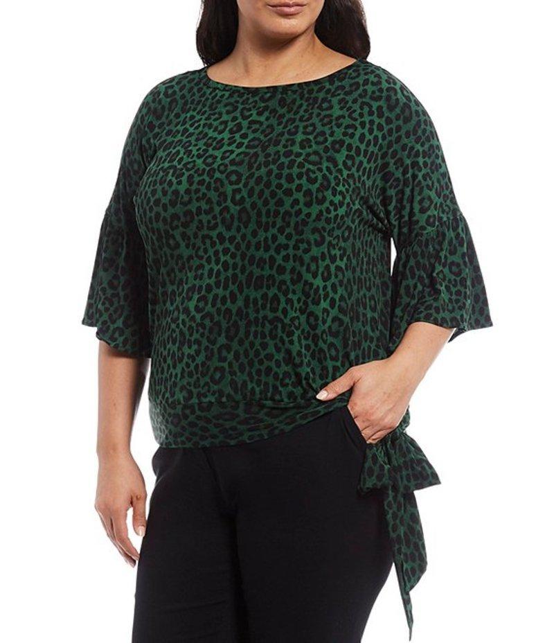 マイケルコース レディース Tシャツ トップス MICHAEL Michael Kors Plus Size Mega Cheetah Print Lux Matte Jersey 3/4 Flounce Sleeve Side Tie Top Moss