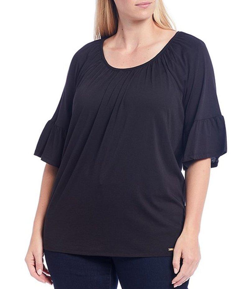 マイケルコース レディース Tシャツ トップス MICHAEL Michael Kors Plus Size Solid Knit Jersey Scoop Neck 3/4 Sleeve Gathered Peasant Top Black