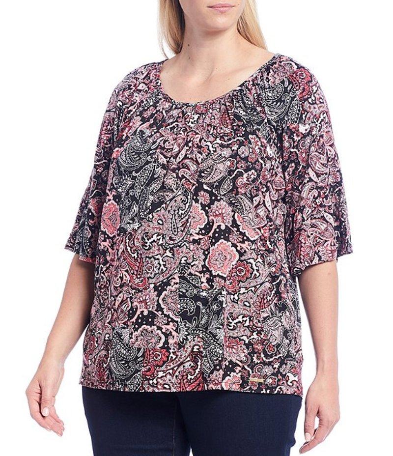 マイケルコース レディース Tシャツ トップス MICHAEL Michael Kors Plus Size Arabesque Paisley Patchwork Print Knit Jersey 3/4 Sleeve Gathered Peasant Top Geranium