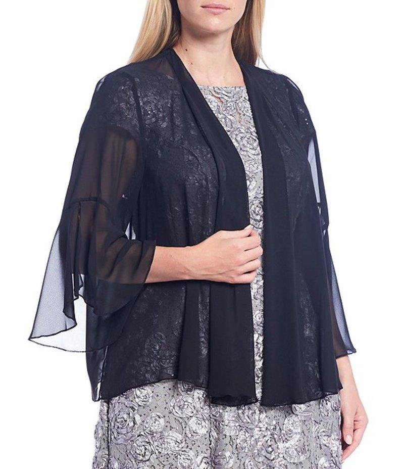 送料無料 サイズ交換無料 アレックスイブニングス レディース アウター ジャケット ブルゾン 本物 Black Plus 3 Chiffon Bell Size Front Cardigan 新品 送料無料 4 Open Sleeve