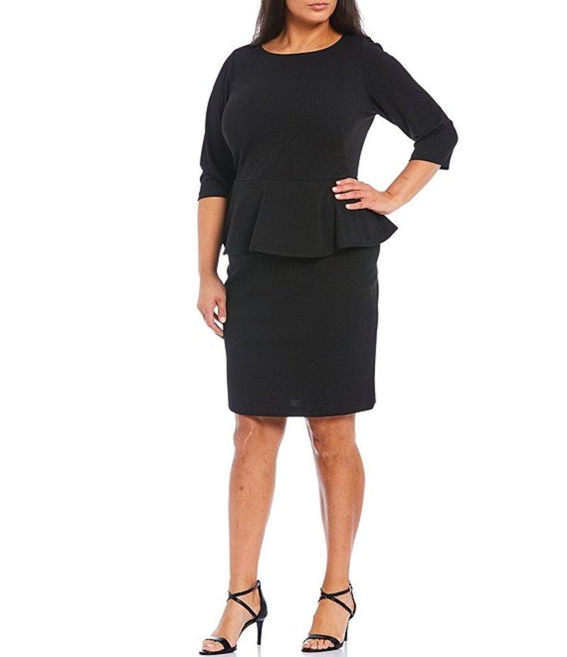 カルバンクライン レディース ワンピース トップス Plus Size 3/4 Sleeve Scuba Crepe Peplum Dress Black