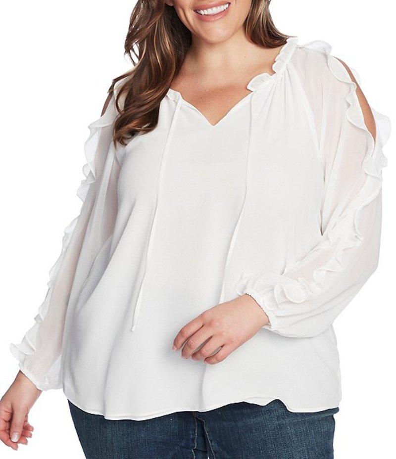 ワンステート レディース シャツ トップス 1. State Plus Size Ruffled Cold Shoulder Long Sleeve Blouse Soft Ecru