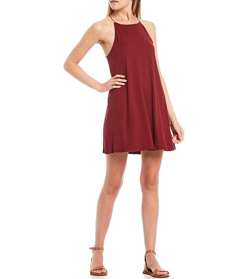 モアモア レディース ワンピース トップス High Neck Trapeze Dress Burgundy