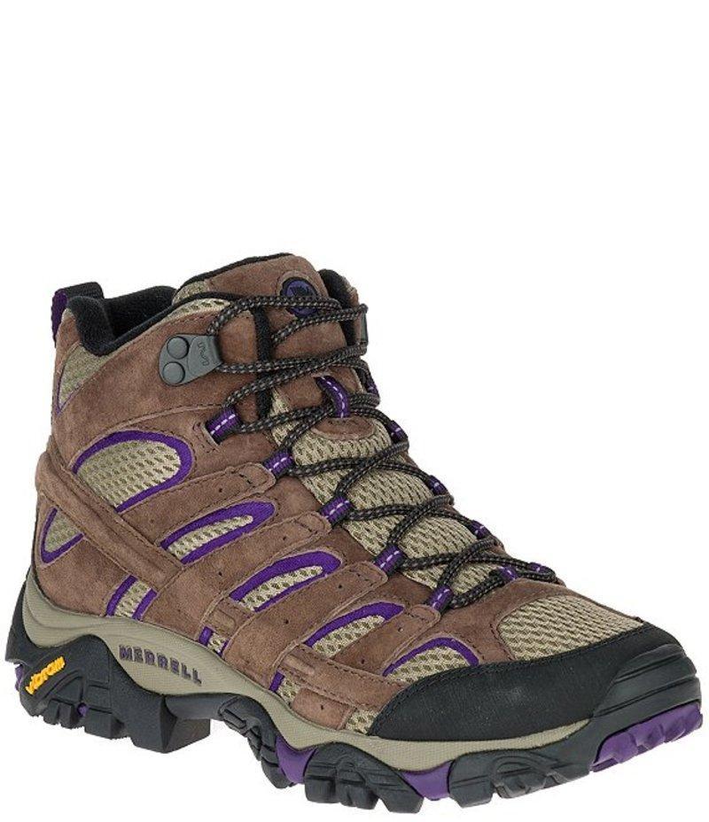 メレル レディース ブーツ・レインブーツ シューズ Moab 2 Vent Mid Light Leather & Mesh Hikers Bracken/Purple