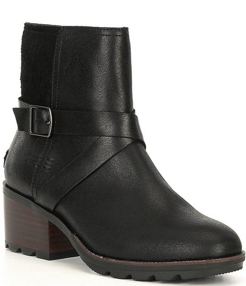ソレル レディース ブーツ・レインブーツ シューズ Cate Leather Buckle Booties Black