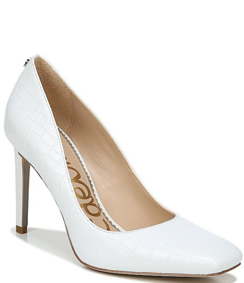 サムエデルマン レディース ヒール シューズ Beth Square Toe Croc Embossed Leather Pumps Bright White