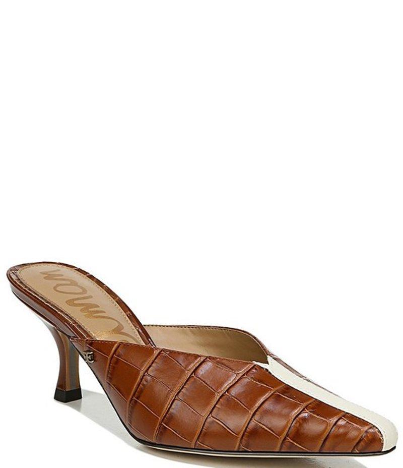 サムエデルマン レディース サンダル シューズ Tev Croc Embossed Leather Dress Mules Tawny Brown/Modern Ivory