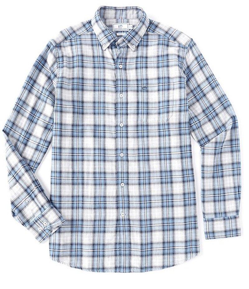 サウザーンタイド メンズ シャツ トップス Chambray Reversible Long-Sleeve Woven Shirt Dark Blue