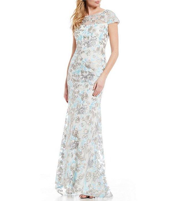 カルバンクライン レディース ワンピース トップス Floral Embroidered Cap Sleeve V Back Gown White Multi
