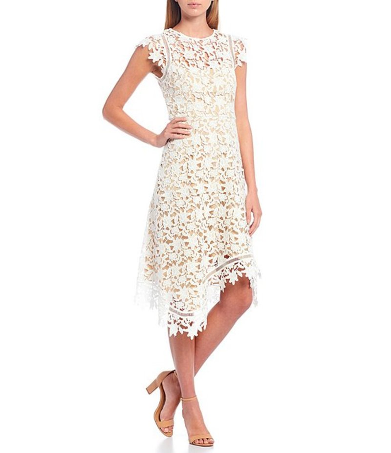 エリザジェイ Asymmetrical Cap トップス Ivory Hem ワンピース Lace Dress Sleeve レディース