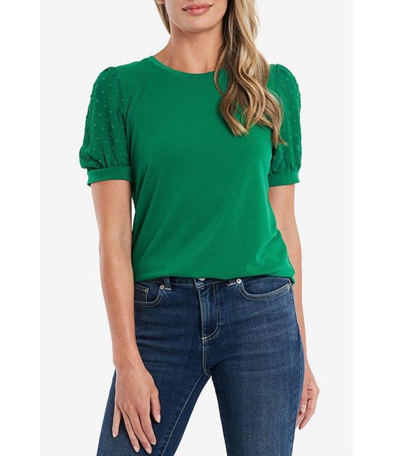 セセ レディース Tシャツ トップス Puff Sleeve Mixed Media Knit Top Lush Green