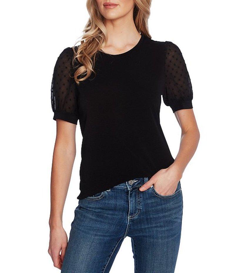 セセ レディース Tシャツ トップス Puff Sleeve Mixed Media Knit Top Rich Black