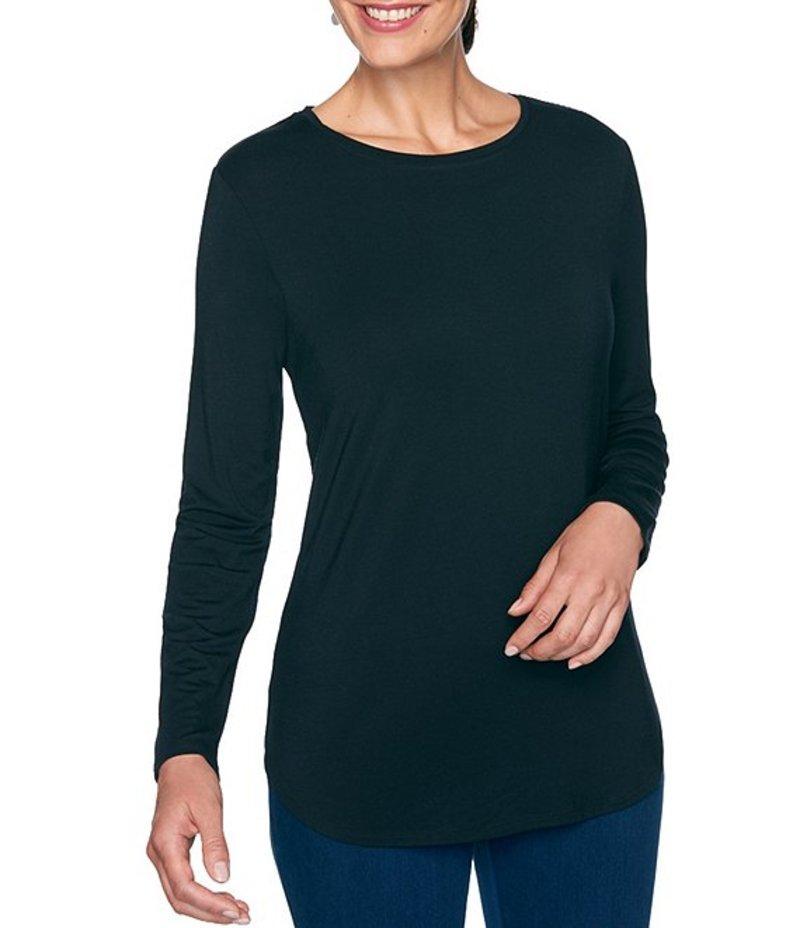 ルビーアールディー レディース Tシャツ トップス Knit Jersey Crew Neck Long Sleeve Cotton Blend Top Black