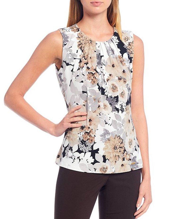 カルバンクライン レディース Tシャツ トップス Mixed Floral Print Matte Jersey Pleat Neck Sleeveless Top Tin Multi