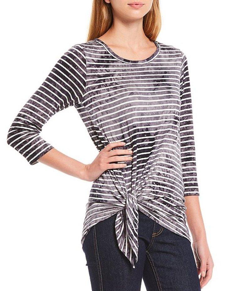 カレンケーン レディース Tシャツ トップス Side Tie Striped Tie Dye Soft Knit 3/4 Sleeve Scoop Neck Top Stripe