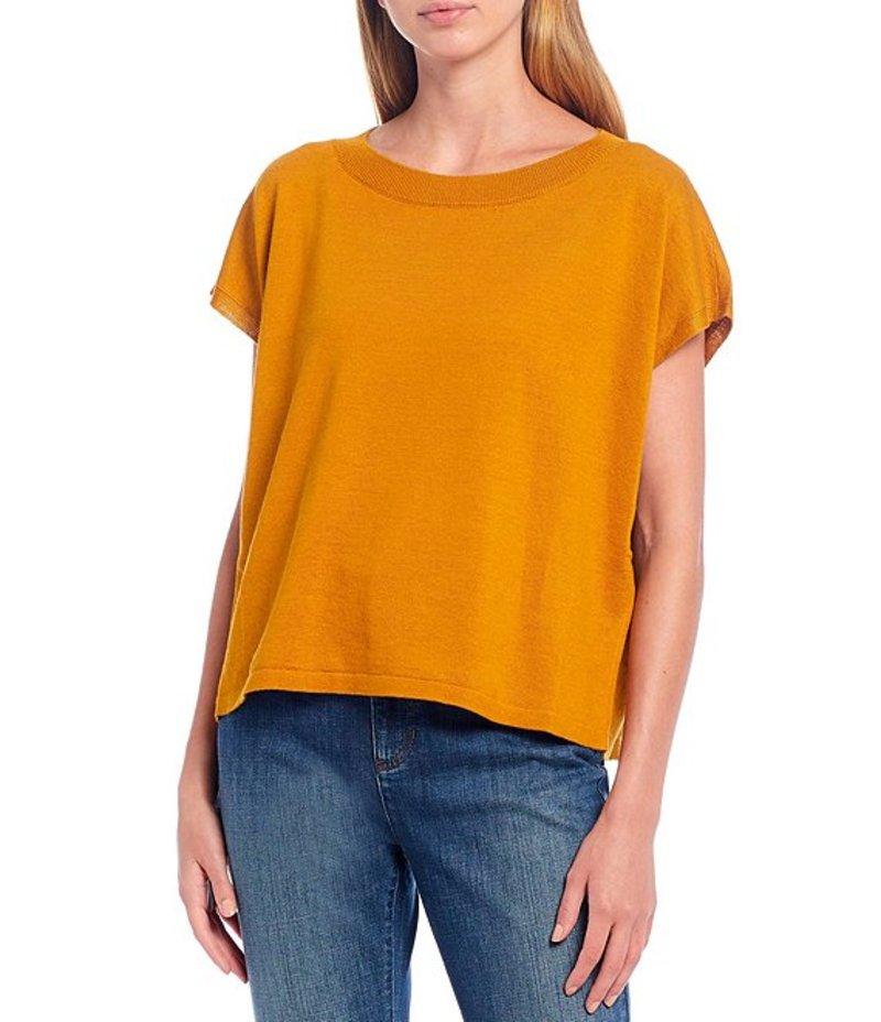 エイリーンフィッシャー レディース Tシャツ トップス Organic Cotton Linen Round Neck Short Sleeve Soft Box Top Goldenrod