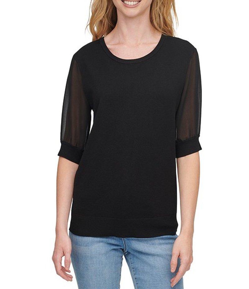 ダナ キャラン ニューヨーク レディース Tシャツ トップス Mixed Media Chiffon Short Sleeve Scoop Neck Fine Gauge Sweater Knit Top Black