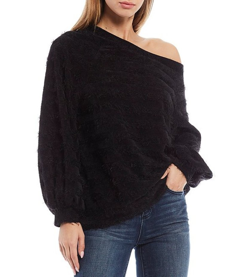 ワンステート レディース Tシャツ トップス Off-the-Shoulder Long Balloon Sleeve Eyelash Top Rich Black