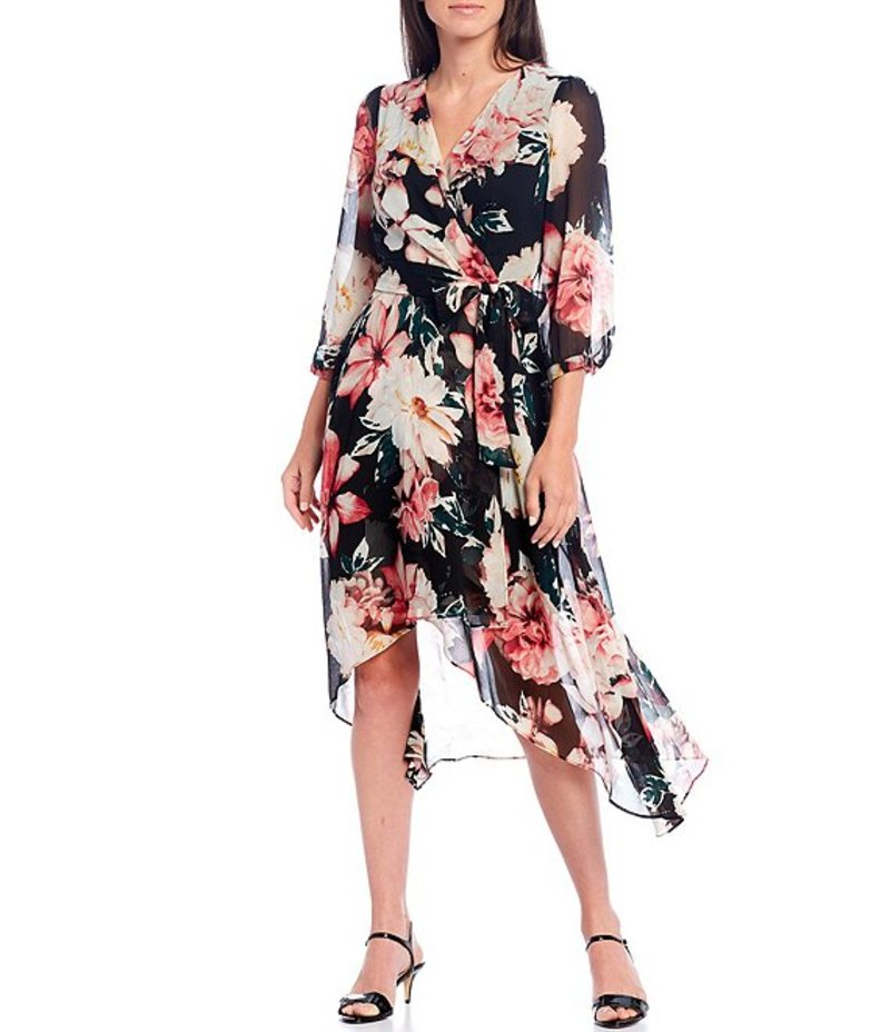 カール 3/4 トップス Floral Black/Floral Chiffon ワンピース Dress Hi-Low Sleeve Faux ラガーフェルド レディース Wrap