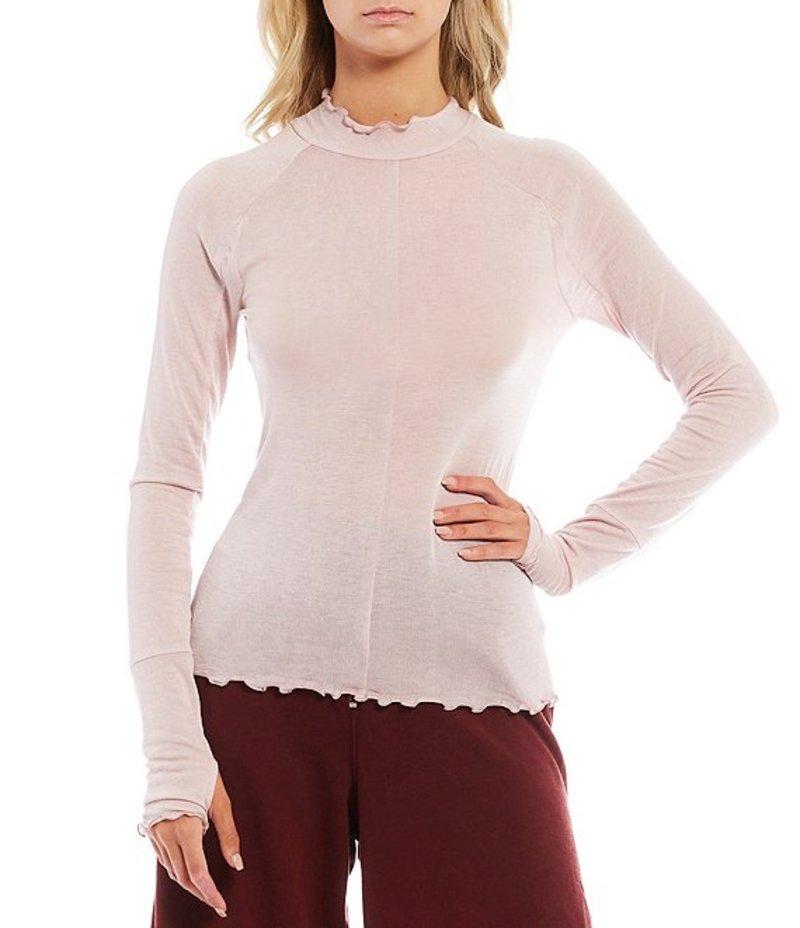 フリーピープル レディース Tシャツ トップス FP Movement High Jump Thumbhole Detail Lettuce Edge Hem Long Sleeve Mesh Top Blush Tint