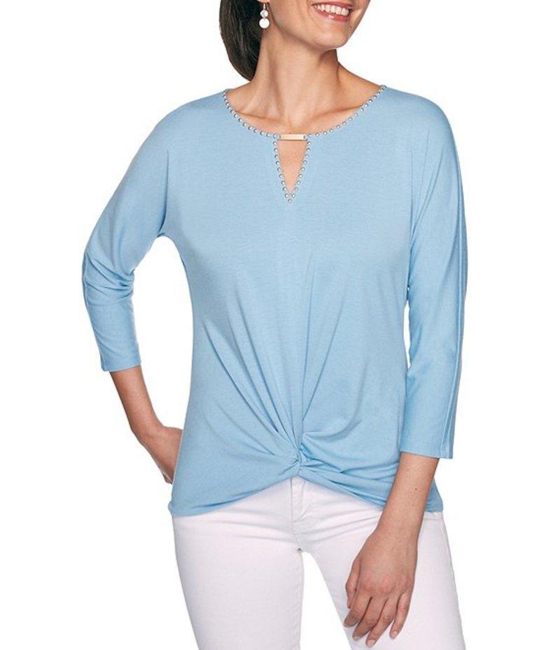 ルビーアールディー レディース Tシャツ トップス Embellished Keyhole Neck Knot Hem 3/4 Dolman Sleeve Top Sky Blue