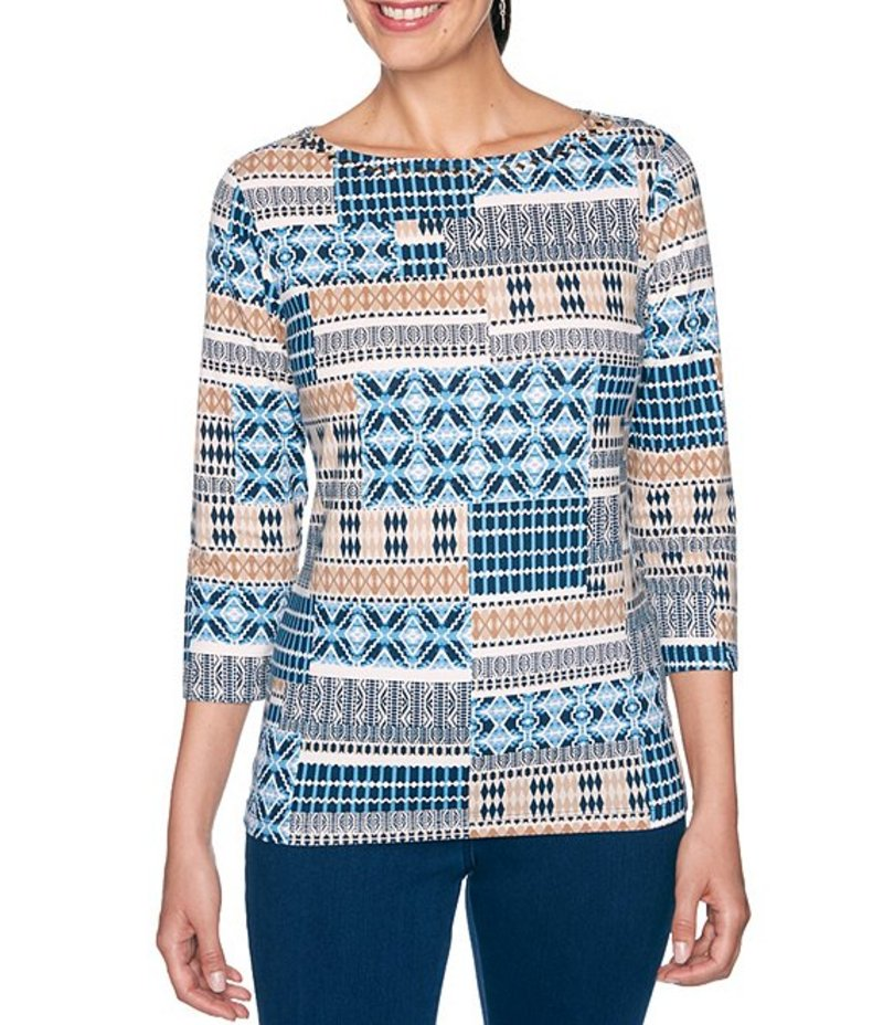 ルビーアールディー レディース Tシャツ トップス Embellished Boat Neck Geo Stripe Patchwork Print 3/4 Sleeve Top Navy Multi