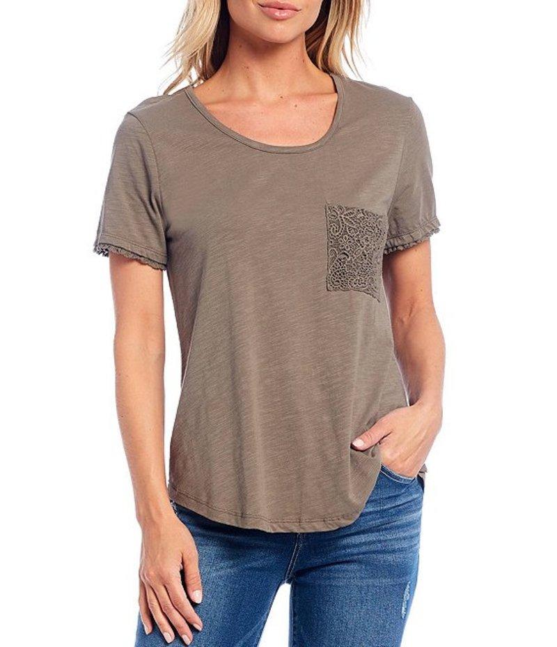 デモクラシー レディース Tシャツ トップス Crochet Pocket Detail Short Sleeve Cotton Blend Tee Olive