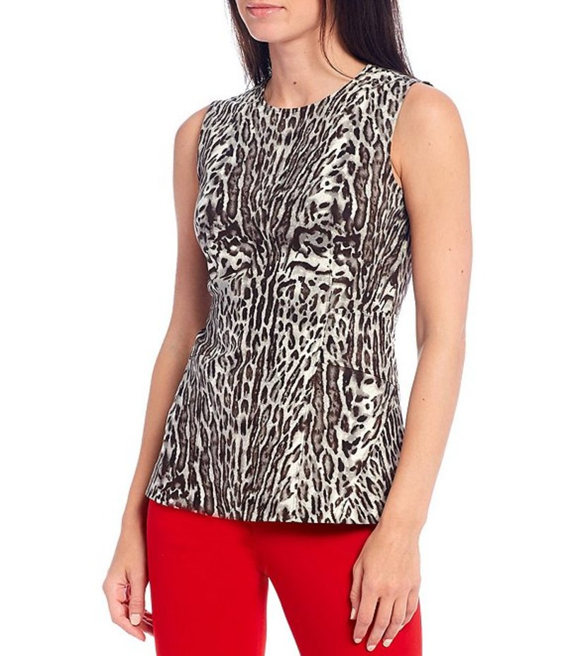 ダナキャラン レディース Tシャツ トップス New York Animal Print Sleeveless Fitted Top Heritage Animal Print