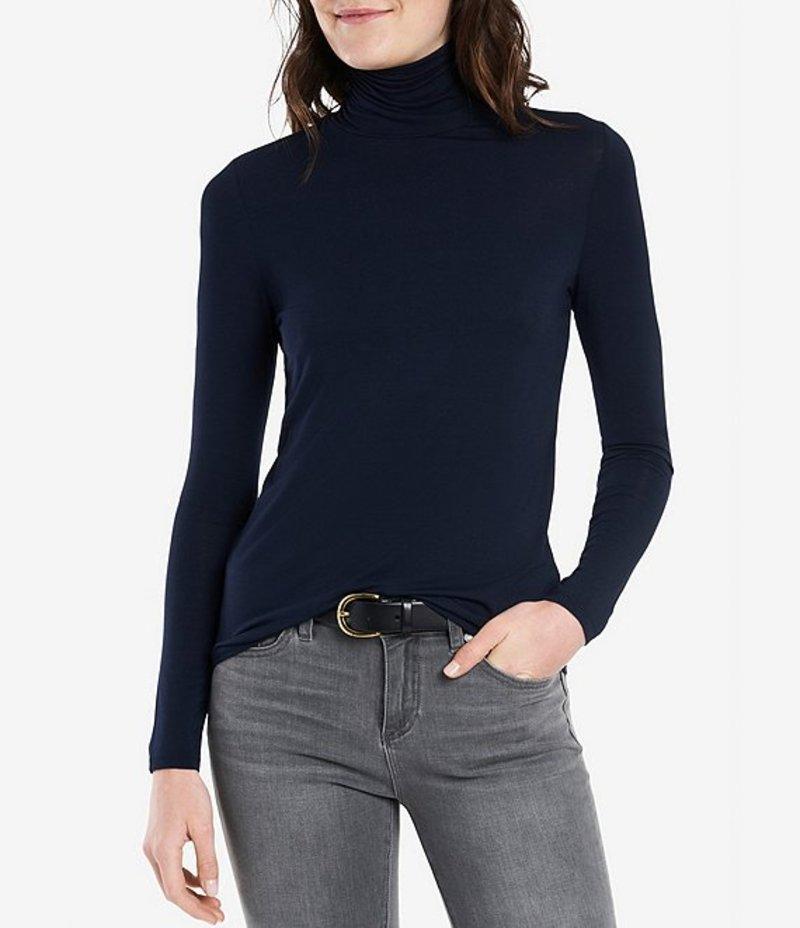 コート&ロー レディース Tシャツ トップス Turtleneck Long Sleeve Knit Top Blue Night