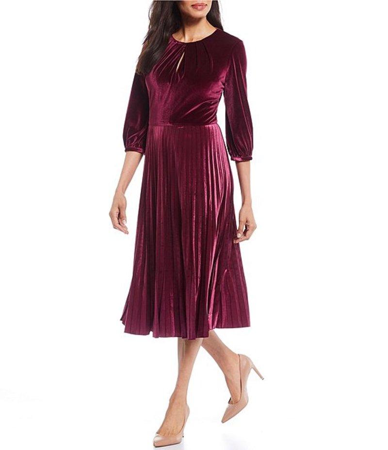 Pleated Petite 3/4 Size Dress レディース ワンピース マギーロンドン Midi Sleeve Port トップス Velvet