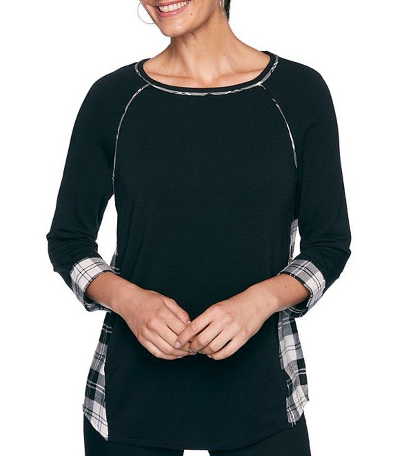 ルビーアールディー レディース Tシャツ トップス Petite Size Ballet Neck 3/4 Raglan Sleeve Plaid Back French Terry Top Black