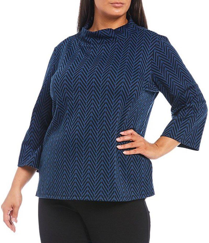 インベストメンツ レディース Tシャツ トップス Plus Size 3/4 Sleeve Herringbone Mock Neck Top Blue Herringbone