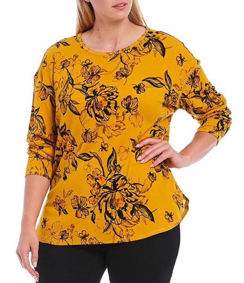 ウエストバウンド レディース Tシャツ トップス Plus Size Vintage Floral Print Long Sleeve Cotton Blend Crew Tee Vintage Floral