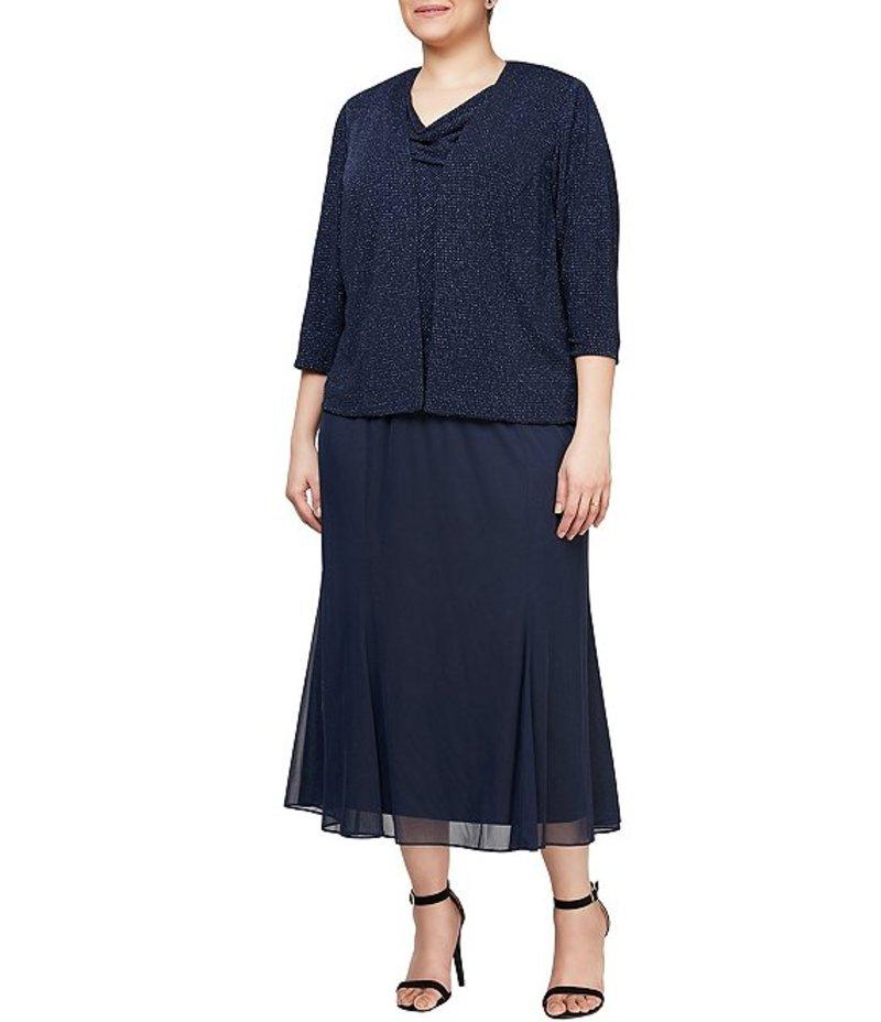 アレックスイブニングス レディース ワンピース トップス Plus Size Tea Length Slinky Glitter Metallic 2-Piece Jacket Dress Dark Navy