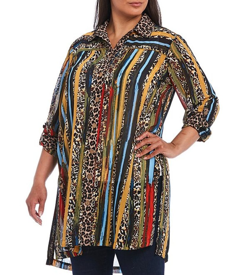 ジョン マーク レディース カットソー トップス Plus Size Striped Cheetah Print Georgette Button Front Hi-Low Long Tunic Skin Multi