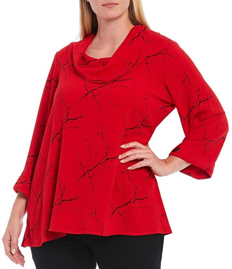 アリ マイルス レディース カットソー トップス Plus Size Jacquard Printed 3/4 Roll-Tab Sleeve Cowl Neck Tunic Ruby Red