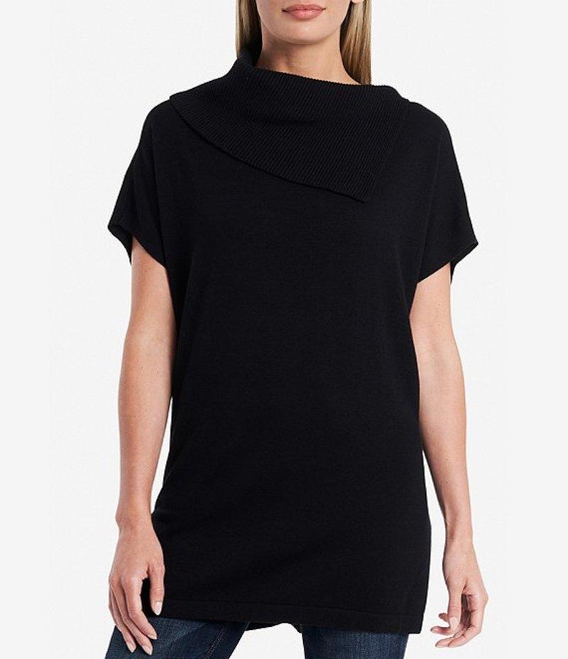 ヴィンスカムート レディース カットソー トップス Short Sleeve Cowl Neck Sweater Tunic Rich Black