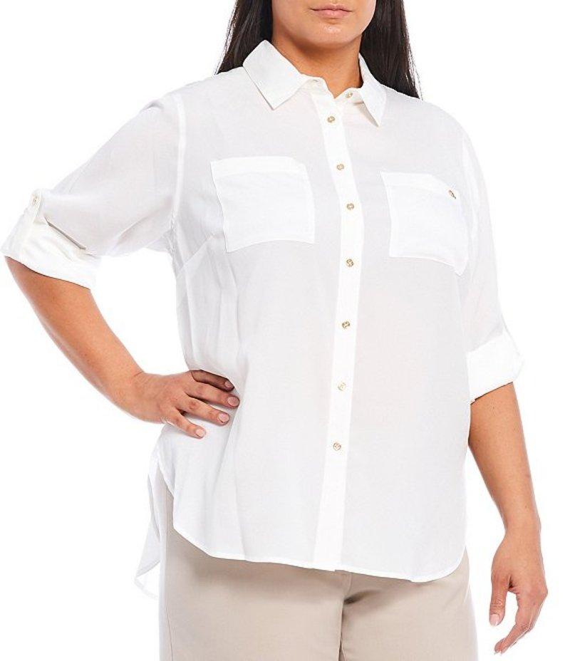 カルバンクライン レディース カットソー トップス Plus Size Roll-Tab Sleeve Hi-Low Hem Crepe De Chine Tunic Soft White