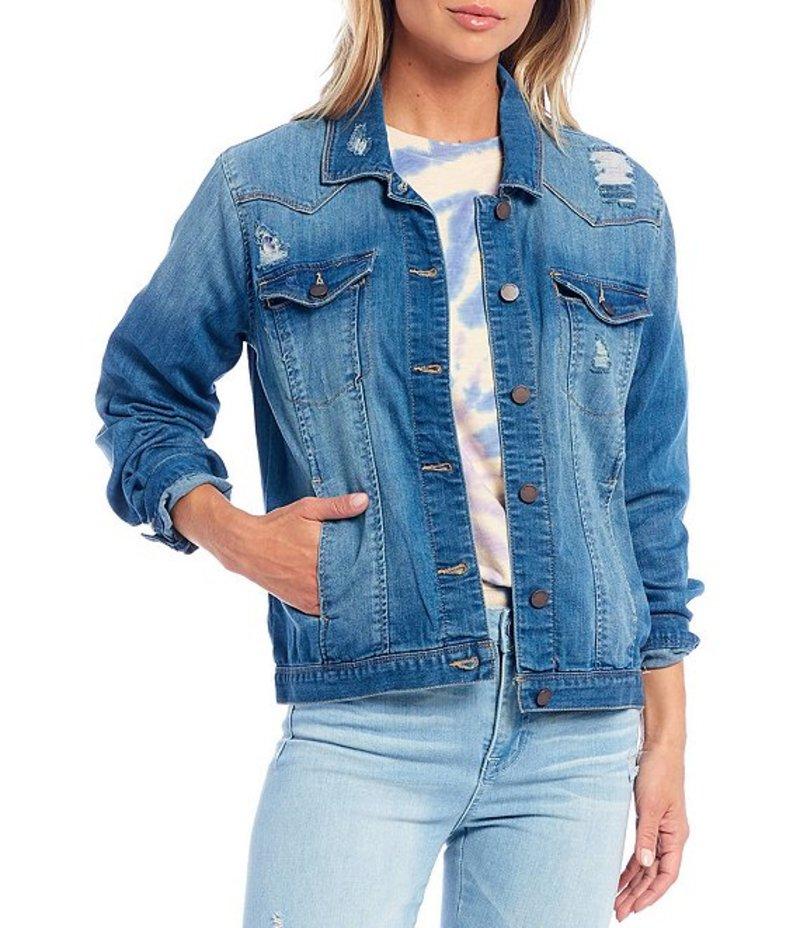 送料無料 サイズ交換無料 デモクラシー レディース 超特価SALE開催 アウター ジャケット ブルゾン Jacket Light Western Denim Detail Blue Distressed 限定価格セール
