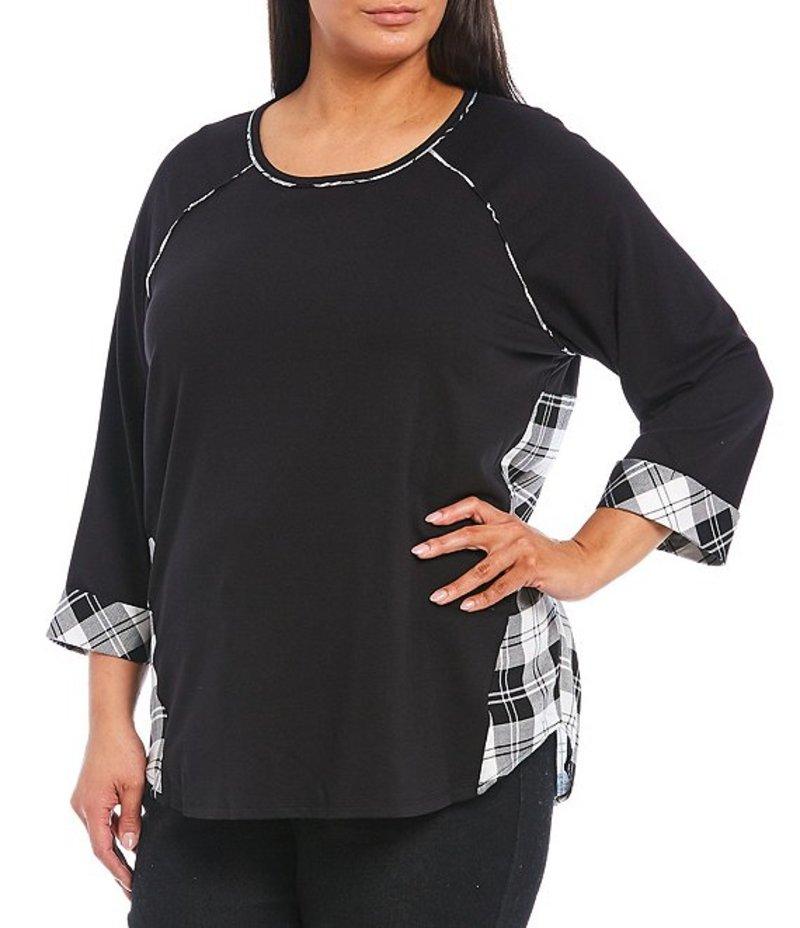 ルビーアールディー レディース Tシャツ トップス Plus Size Ballet Neck 3/4 Raglan Sleeve Plaid Back French Terry Top Black