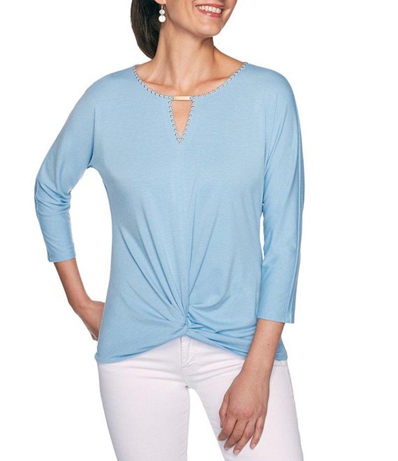 ルビーアールディー レディース Tシャツ トップス Petite Size Embellished Keyhole Neck Knot Hem 3/4 Dolman Sleeve Top Sky Blue