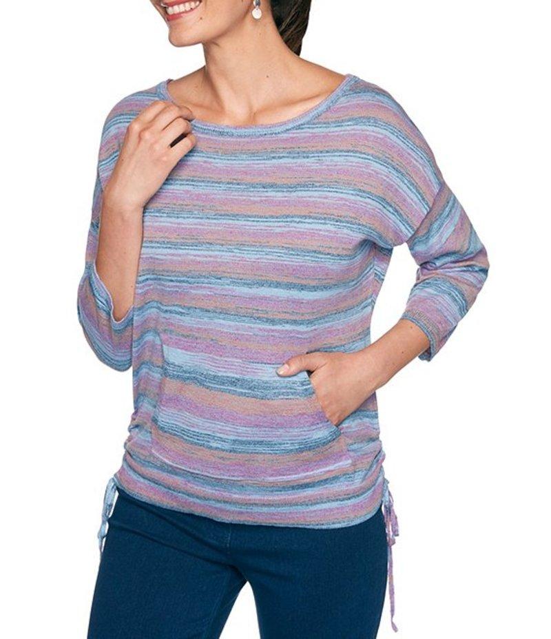 ルビーアールディー レディース Tシャツ トップス Petite Size Striped Space Dye 3/4 Sleeve Cinched Side Sweater Knit Pullover Fushia Multi