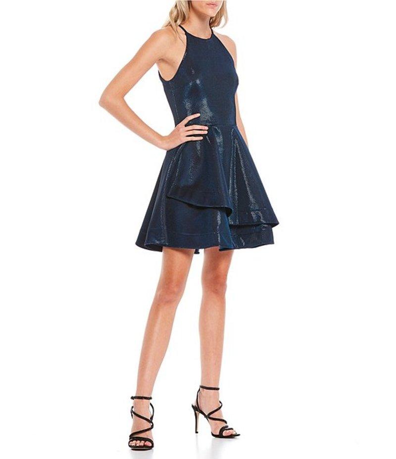 Dress レディース Shine トップス Double ビーダーリン High-Neck ワンピース Sleeveless Hem Black/Navy Fit-and-Flare