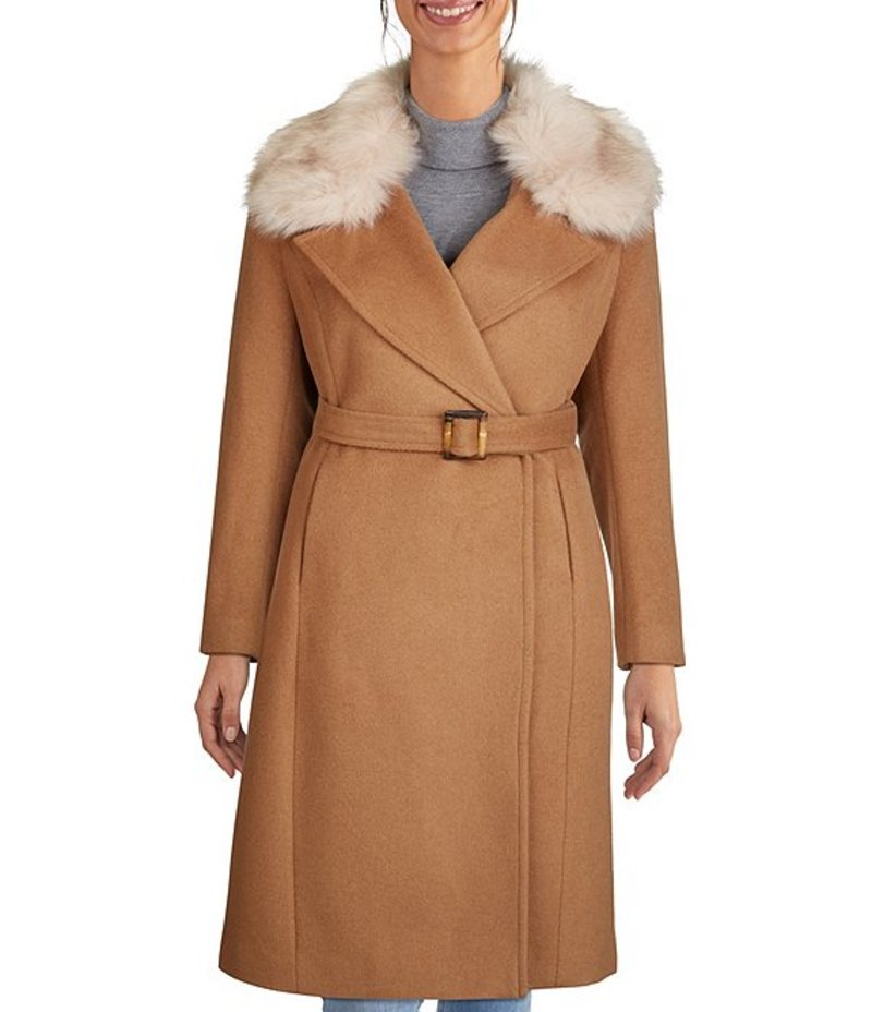 特売 コールハーン レディース コート アウター Signature Faux Fur Collar Wool Blend Belted Wrap Long Coat Camel, Poeta Laureado 0ddf2a12
